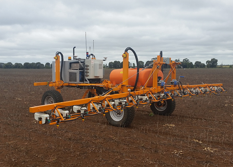 4WD SwarmFarm robots carrying WeedSeeker technology cover the paddock spraying only living weeds
